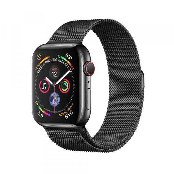 Apple Watch Gold Series 4 44mm GPS+Cellular Aluminum Case with Space Black Milanese Loop