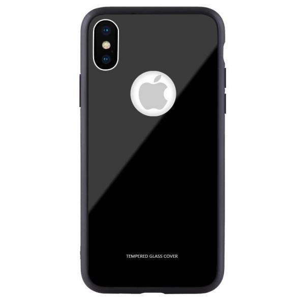 Чехол бампер Jorita-Apple iPhone X Tempered Glass TPU Bumper Case (Black)