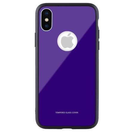 Чехол бампер Jorita-Apple iPhone X Tempered Glass TPU Bumper Case (Blue)