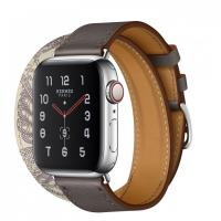 Apple Watch Hermes Series 5, 40mm Stainless Steel Case with Etain Beton Swift Leather Double Tour