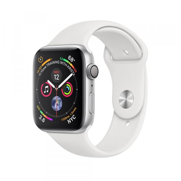 Apple Watch series 4 44mm Silver Aluminum Case with White Sport Band