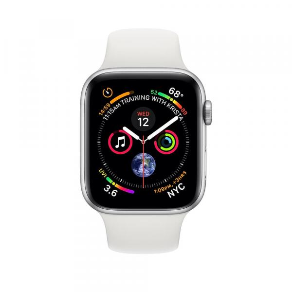 Apple Watch series 4 44mm GPS+Cellular Silver Aluminum Case with White Sport Band