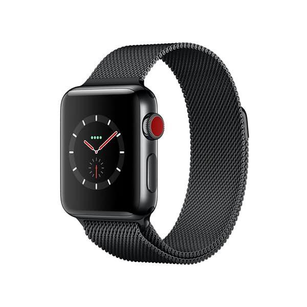 Apple Watch Series 3 38mm GPS+Cellular Space Black Stainless Steel Case with Space Black Milanese Loop