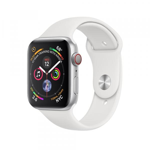 Apple Watch series 4 40mm GPS+Cellular Silver Aluminum Case with White Sport Band