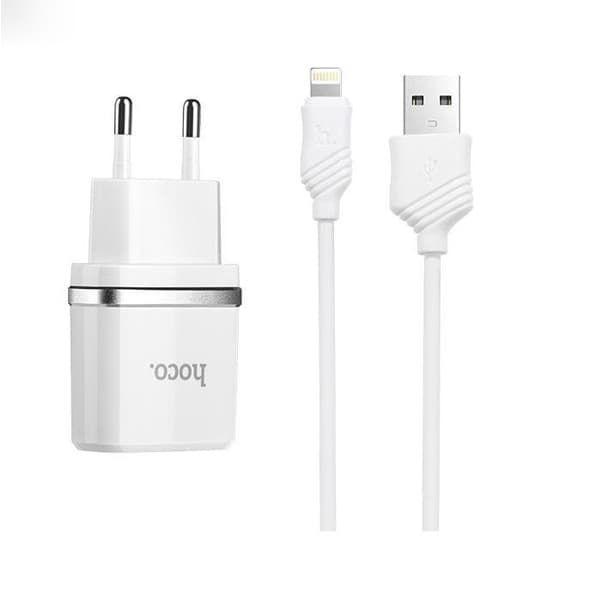 Dual СЗУ Hoco С12  2.4 A  +  кабель для iPhone Lightning (white)