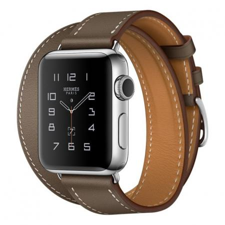 Apple Watch Hermes Series 2 38mm Stainless Steel Case with Etoupe Swift Leather Double Tour