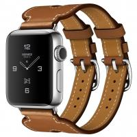 Apple Watch Hermes Series 2 38mm Stainless Steel Case with Fauve Barenia Leather Double Buckle Cuff