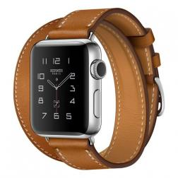 Apple Watch Hermes Series 2 38mm Stainless Steel Case with Fauve Barenia Leather Double Tour
