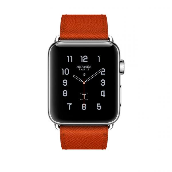 Apple Watch Hermes Series 2 42mm Stainless Steel Case with Feu Epsom Leather Single Tour
