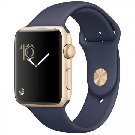 Apple Watch Series 2 38mm Gold Aluminum Case with Midnight Blue Sport Band
