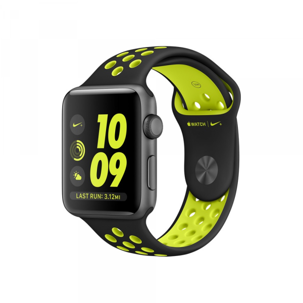 Apple Watch Series 2 Nike+ 42mm Space Gray Aluminum Case with Black/Volt Nike Sport Band