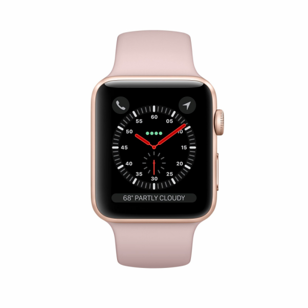 Apple Watch Series 3 42mm GPS+Cellular Gold Aluminum Case with Pink Sand Sport Band