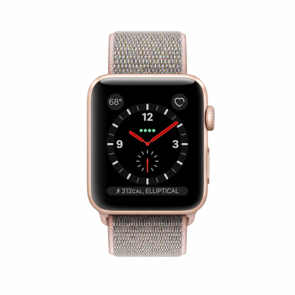 Apple Watch Series 3 38mm GPS+Cellular Gold Aluminum Case with Pink Sand Sport Loop