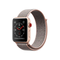 Apple Watch Series 3 42mm GPS+Cellular Gold Aluminum Case with Pink Sand Sport Loop