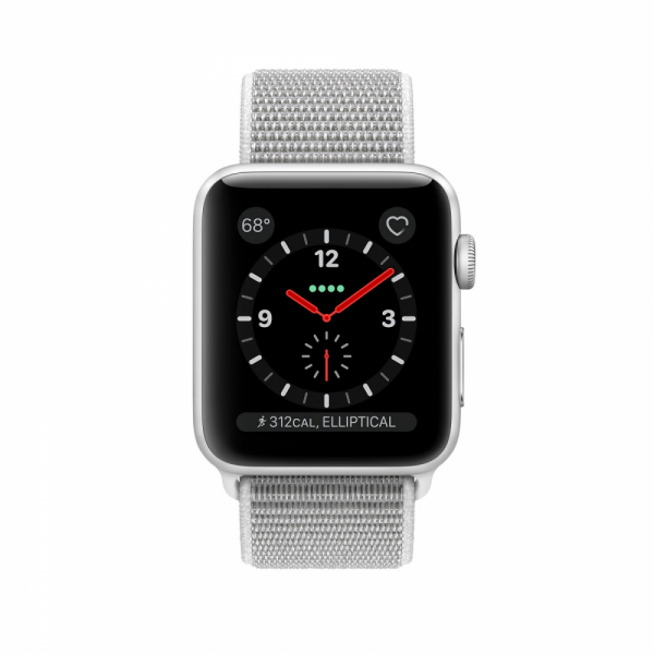 Apple Watch Series 3 38mm GPS+Cellular Silver Aluminum Case with Seashell Sport Loop