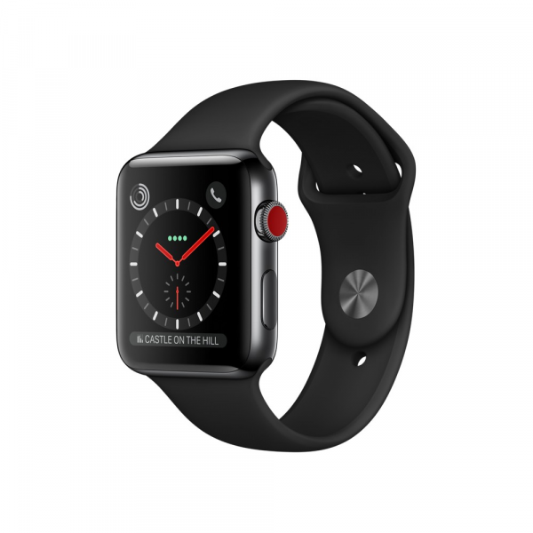 Apple Watch Series 3 42mm GPS+Cellular Space Gray Aluminum Case with Black Sport Band