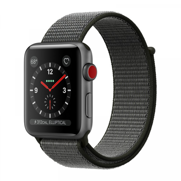 Apple Watch Series 3 42mm GPS+Cellular Space Gray Aluminum Case with Dark Olive Sport Loop