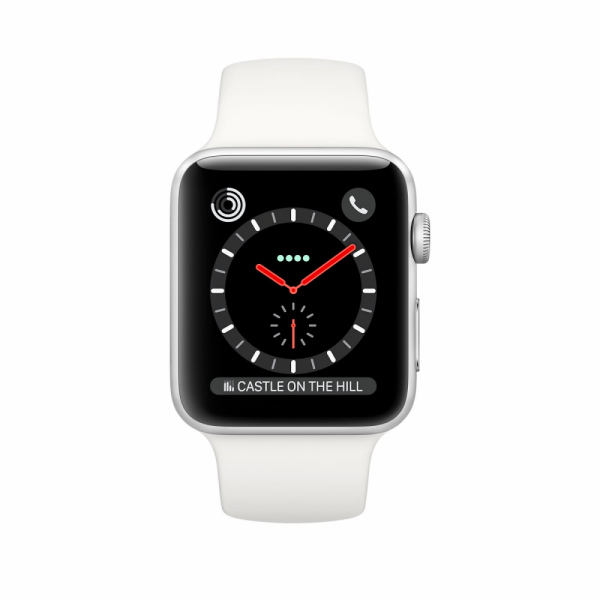 Apple Watch Series 3 38mm GPS+Cellular Stainless Steel Case with Soft White Sport Band