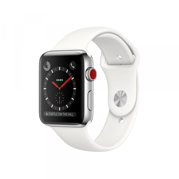 Apple Watch Series 3 42mm GPS+Cellular Stainless Steel Case with Soft White Sport Band