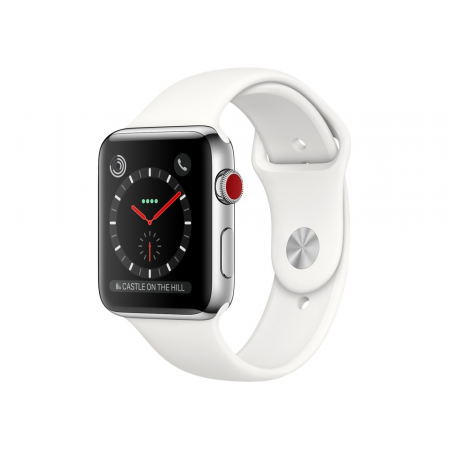 Apple Watch Series 2 42mm Stainless Steel Case with White Sport Band