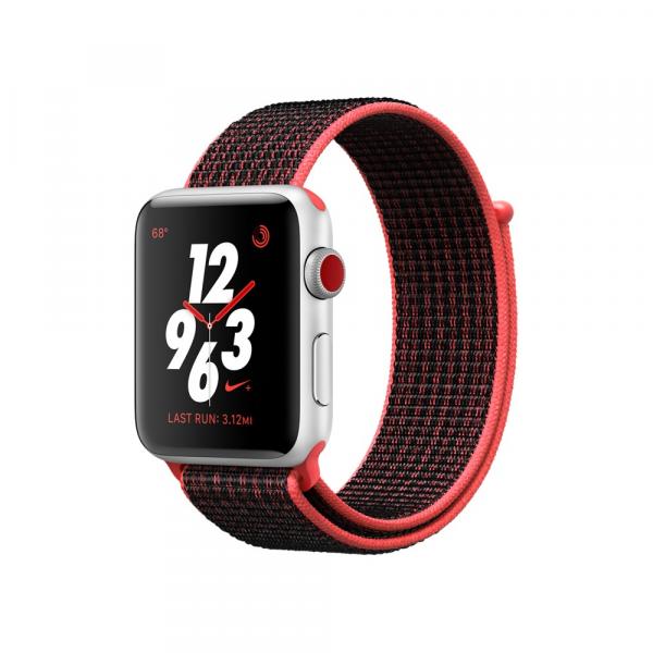 Apple Watch Series 3 Nike+ 42mm GPS+Cellular Silver Aluminum Case with Bright Crimson/Black Nike Sport Loop