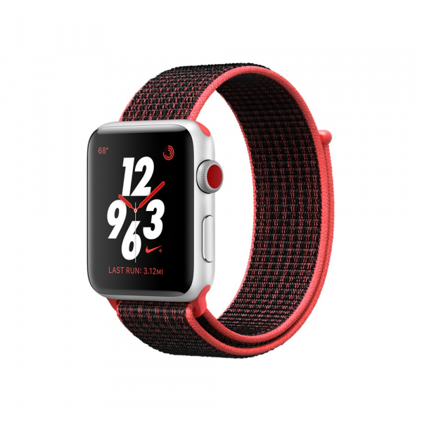 Apple Watch Series 3 Nike+ 38mm GPS+Cellular Silver Aluminum Case with Bright Crimson/Black Nike Sport Loop