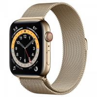 Apple Watch Series 6 44mm GPS+Cellular Gold Stainless Steel Case with Milanese Loop