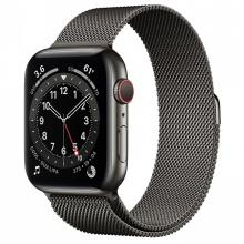 Apple Watch Series 6 44mm GPS+Cellular Graphite Stainless Steel Case with Graphite Milanese Loop