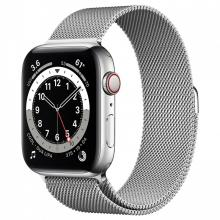Apple Watch Series 6 44mm GPS+Cellular Silver Stainless Steel Case with Milanese Loop