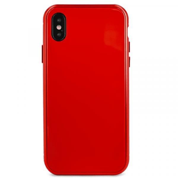 Чехол для iPhone X Magnet glass case (Красный)