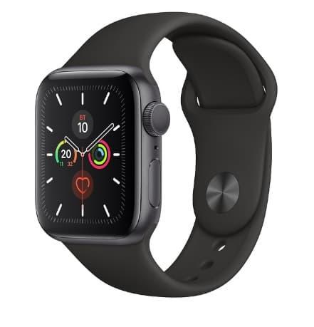 Apple Watch 5 44mm Space Gray Aluminum Case with Black Sport Band