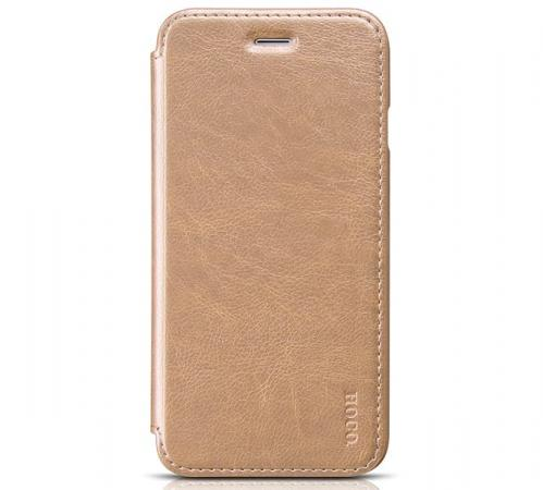 Чехол книжка Hoco кожаный для iPhone X , цвет (Gold)