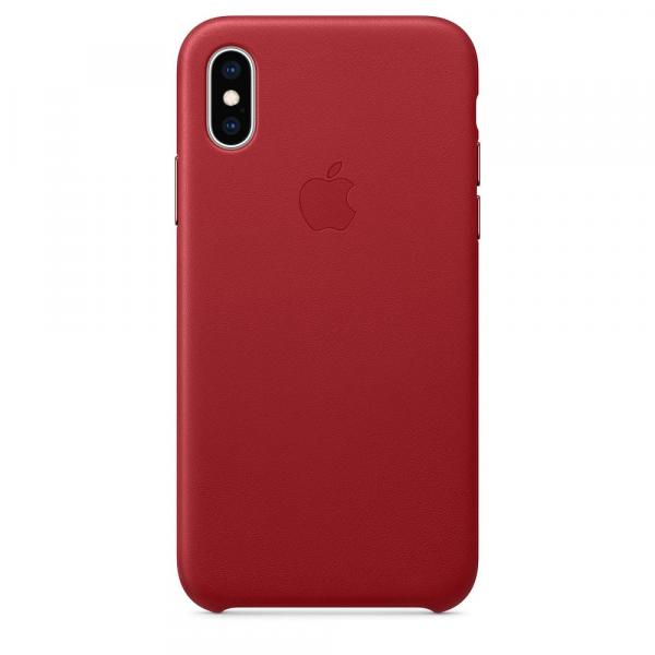 Кожанный чехол для iPhone XS, цвет красный