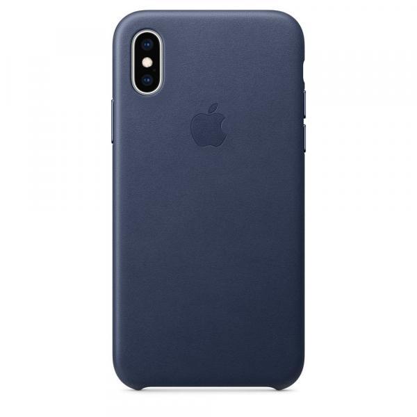 Кожанный чехол для iPhone XS Max, цвет темно-синий