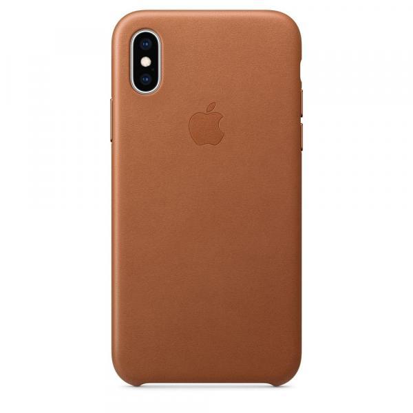 Кожанный чехол для iPhone XS Max, цвет коричневый