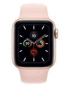Apple Watch 5 44mm Rose Gold Aluminum Case with Gold Sport Band