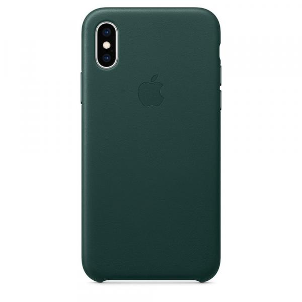 Кожанный чехол для iPhone XS, цвет зеленый лес