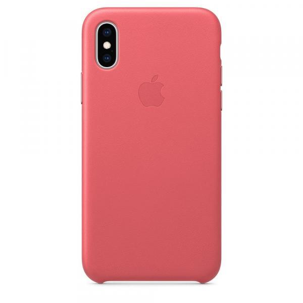 Кожанный чехол для iPhone XS, цвет розовый пион