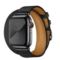 Apple Watch Hermes Series 5, 44mm Space Black Stainless Steel Case with Noir Swift Leather Single Tour